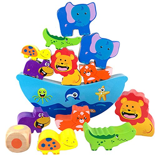 Lewo Wooden Balancing Game Stacking Blocks Noah's Balancing Ark Baby Toddlers Toys Building Balance Games for Kids - Boat Balancing Game