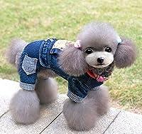 SELMAI Pet Puppy Cat Small Dog Clothes Fleece Denim Coat Jacket Jumpsuit Male Costume Blue Dog Jumpsuit