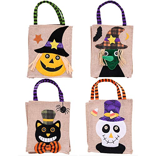 Halloween Trick or Treat Bags Reusable Candy Goodie Totes Bags Halloween Party Favor Bag(4 Pack) (Pumpkin-Cat-Skull-Witch)
