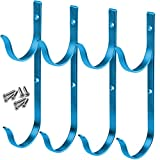 GrayBunny GB-6898BLU4 Swimming Pool Aluminum Pole Hanger Set, Blue, 2-Pack (4 Hooks), for Telescoping Poles, Leaf Rakes, Skimmers, Nets, Brushes, Vacuum Hoses and More!