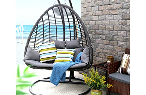 Baner Garden X29 Oval Egg Hanging Patio Lounge Chair Chaise Porch Swing Hammock Stand Double Seat Wicker with Cushion, Full, Black (Double Chaise Chair)