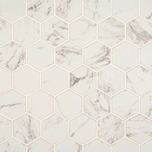 Hexagon Floor Tiles - Carrara 2 in. x 2 in.Hexagon Matte Porcelain Mosaic Tile