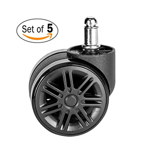 McKoo Office Chair Casters Wheels for Hardwood 60mm (2-3/8') - Heavy Duty Modern Replacement Safe for all Floors (Set of 5) Color Black