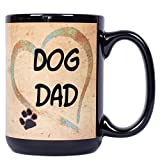 Best The Grandparent Gift Aunt Mugs - Dog Dad Heart Pawmarks on Black 15 ounce Review