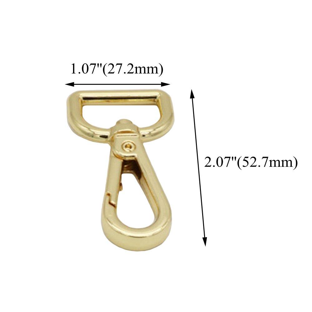 confezione da 10 Rzdeal oro moschettone portachiavi D-Ring Swivel Trigger Snap clip fibbie ganci per borsa borsetta borsa bagaglio auto casa chiave anello portachiavi DIY Hardware