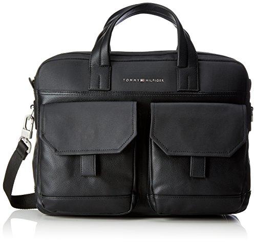 Tommy Hilfiger Herren Novelty Story Computer Bag Laptop Tasche, Schwarz (Black/ Black), 9x30x39 cm