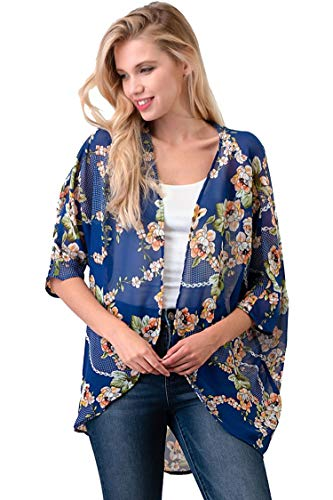 Casual Light Sheer Floral Pattern Kimono Style 3/4 Outerwear Cardigan Floral Blue L