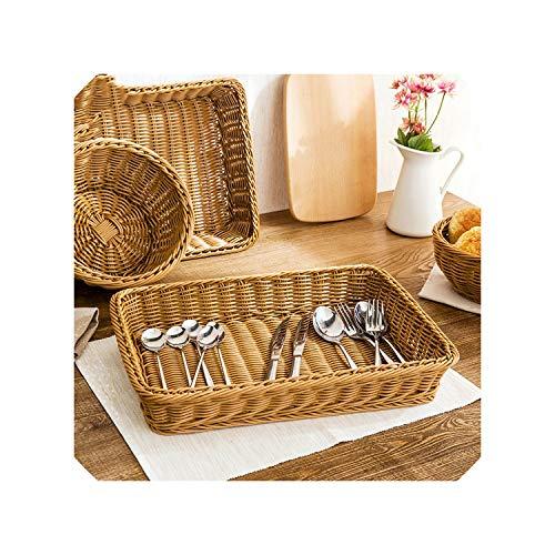 Handmade Rectangular Rattan Storage Basket Plastic Wicker Bread Holder Fruit Vegetable Container Snack Food Organizer,XL (Baskets Rattan Singapore Cheap)