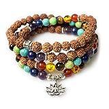 Necklace,Lotus Pendant 7 Chakra Tibetan Buddhist Prayer Mala Beads Rudraksha-Buddha Healing Gemstone Bracelet(Rudraksha-Buddha,Lotus)