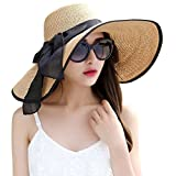 Lanzom Womens Big Bowknot Straw Hat Foldable Roll up Sun Hat Beach Cap UPF 50+ (Khaki)