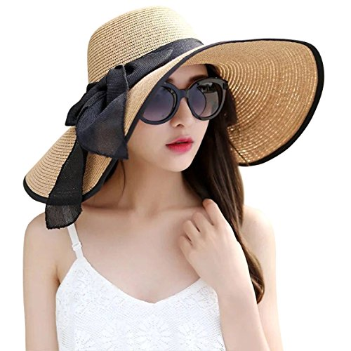 Lanzom Womens Big Bowknot Straw Hat Foldable Roll up Sun Hat Beach Cap UPF 50+ (Khaki) (For Brim Women Hats Big)