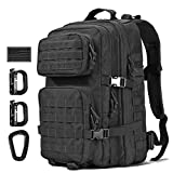 Tactical Backpack - Wycoff Gear Military Tactical Backpack Large Army 3 Day Assault Pack Molle Bug Bag Backpacks Rucksacks for Outdoor Sport Hiking Camping Hunting 40L Black w/USA Flag Patch, D-Rings