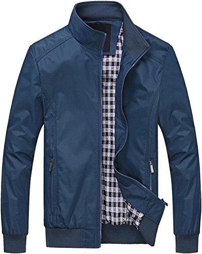 i-select Stand Collar Flight Jacket Blouson Light Outer Mens Casual Fall Winter Spring (US:XL=Tag:3XL, Blue)