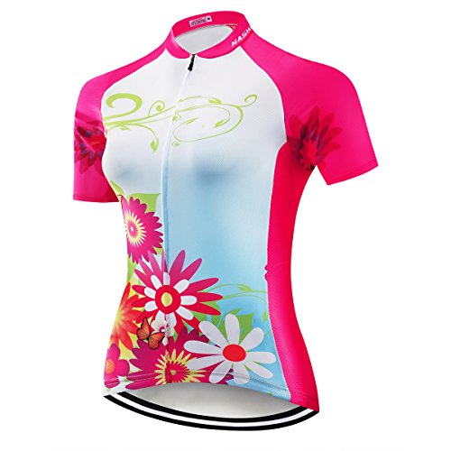 NASHRIO Women's Cycling Jersey Short Sleeve Road Bike Biking Shirt Tops Bicycle Clothes - Breathable and Quick-Dry with 3 ()