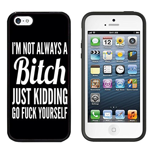iPhone SE Case, DOO UC (TM) Ultra Protective Cases For Apple iPhone SE (2016) & iPhone 5S 5 Black Case - I¡m not always a bitch just kidding go fuck yourself