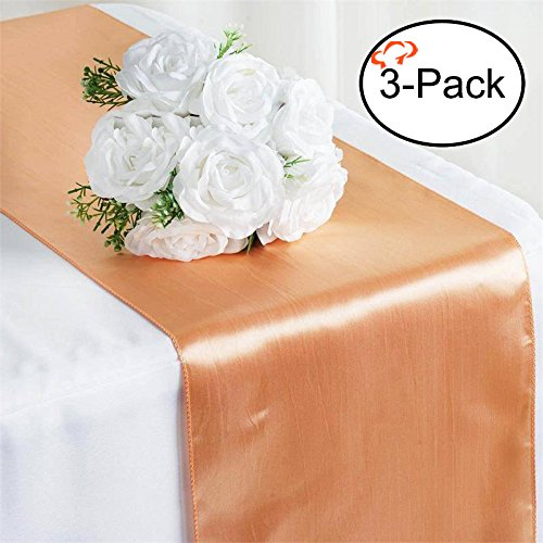 (Tiger Chef 3-Pack Peach 12 x 108 inches Long Satin Table Runner for Wedding, Table Runners fit Rectange and Round Table Decorations for Birthday Parties, Banquets, Graduations, Engagements)