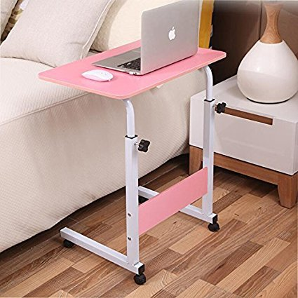 2B-better Adjustable Overbed/Chair Table Movable Bedside Table Height-Adjustable Laptop Table Lazy Computer Stands Multi-function Table (Pink) by 2B-better