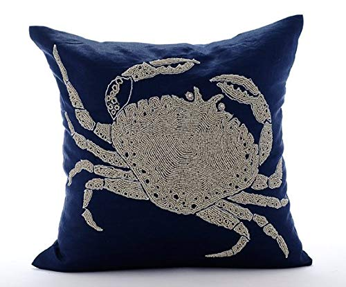 Navy Blue Cushion Covers, Beaded Crab Sea Creatures Ocean and Beach Theme Pillows Cover, Pillow Covers 20