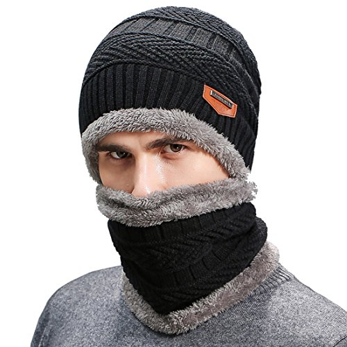 Belsen Men's Thick Warm Wool Knitted Hat and Scarf Winter Gift Set (Black)