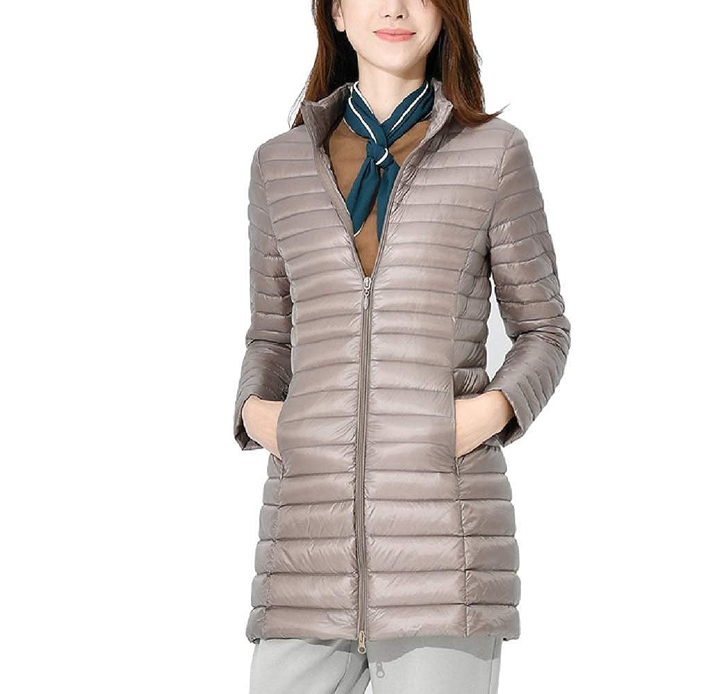 Khaki Aehoor Womens Winter Long Ultra Light 90% Duck Down Portable Warm Down Jacket