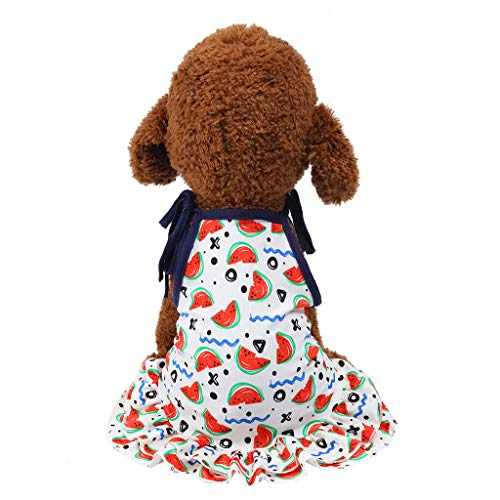 Dog Clothes Skirts,Sweet Watermelon Pattern Print Ruffles Strappy Cute Puppy Dress (S, White)