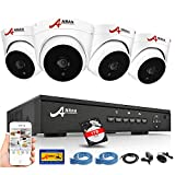 4CH PoE Home Security Cameras System, ANRAN 1080p Surveillance DVR Kit with 4PCS CCTV Dome IP Network Cameras, DIY Setup, Power Over Ethernet, Remote Monitoring APP, Indoor Outdoor, 1TB Hard Drive