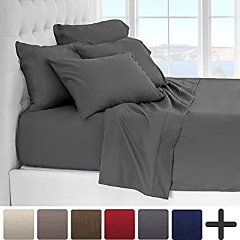 6 Piece Luxury Ultra Soft Sheet Set   Double Brushed 1800 Platinum  Collection   Hypoallergenic