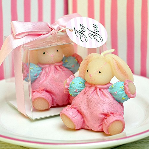 Girl's Toy Rabbit Doll Candle Adorable Birthday Cake Topper Baby Shower Favors with Greeting Card from Sweet Homes & Gardens