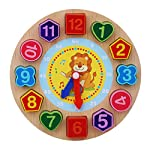 hwangli Wooden Colorful 12 Numbers Clock Toy Digital Geometry Cognitive Kids Puzzles