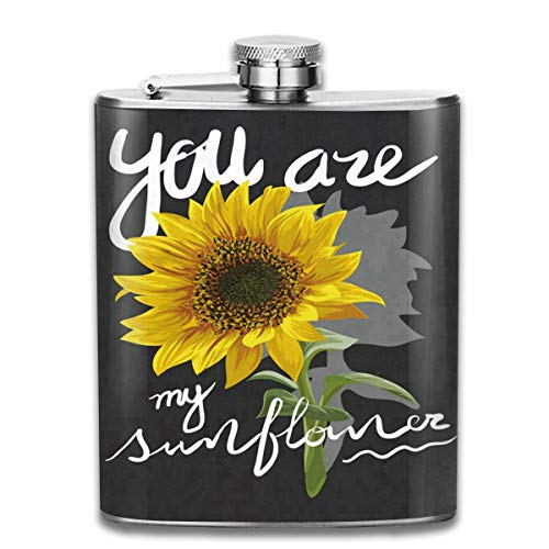 Zeajant Stainless Steel Flask, Whiskey Flask Vodka Alcohol Flask Sunflower Quotes Portable Pocket Bottle, Bag Bottle, Camping Wine Bottle, Suitable for Men and Women 7oz