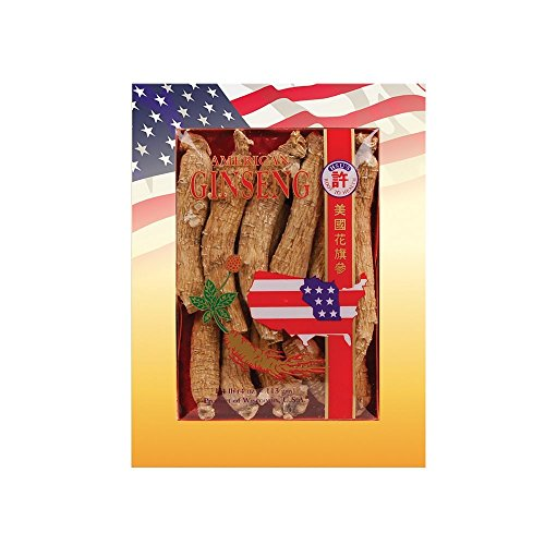 SKU #0101-4, Hsu's Ginseng Long Large Cultivated American Ginseng Roots (4 oz = 113 gm / box), with one free single American ginseng tea bag, 101-4, 101.4