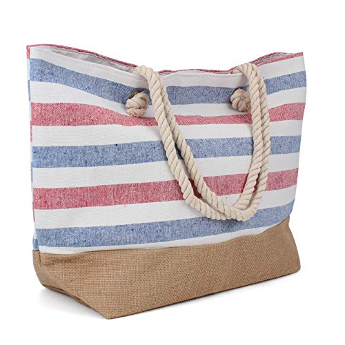 Tote Bag - Beach Bag - Beach Tote - Large Tote Bag with Rope Handles - Rutledge and KingTM (Single, Patriot)