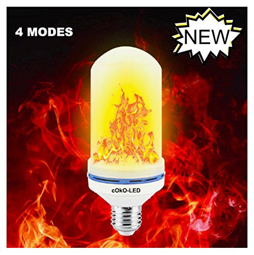 cOkO LED Flame Effect Light Bulb, 4 Modes 1400K E26/E27 Standard Base Decorations Vintage Outdoor/Indoor Romantic Atmosphere for Restaurant/Bar/Patio/Party/Hotel