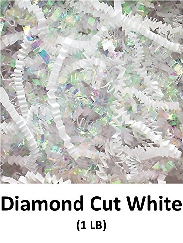 Crinkle Cut Paper Shred Filler (1 LB) for Gift Wrapping & Basket Filling - Iridescent Diamond Cut White | MagicWater Supply by MagicWater Supply
