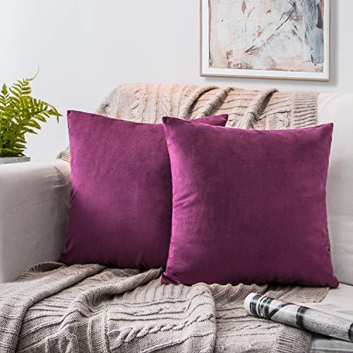 Phantoscope Set of 2 Soft Cozy Velvet Throw Pillow Solid Square Cushion Cover Eggplant Purple 20 x 20 inches 50 x 50 cm ()