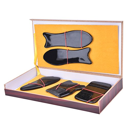Great Deal Set of 5 Gua Sha Scraping Massage Tool Hand Made Gua Sha Board Tools for Treatment Pain Relief