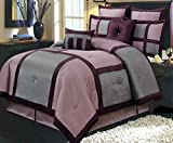 Extra Wide King Size Comforters Comforter Set 8 Piece King Size (106x92) Luxury Complete Bed Set - with Shams Bed Skirt and Decorative Pillows - Modern Color Block Oversized Bedding Purple Grey