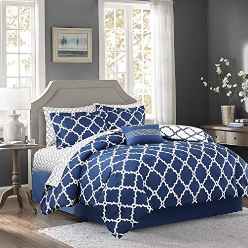 Hemau Premium New Soft Essentials Merritt Twin XL Size Bed Comforter Set Bed in A Bag - Navy, Geometric – 7 Pieces Bedding Sets – Ultra Soft Microfiber Bedroom Comforters -