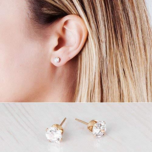 Gold Filled CZ Diamond Stud Earrings - Handmade Zircon Bridal and Bridesmaids Post Earrings - 6mm - Earrings Zircon