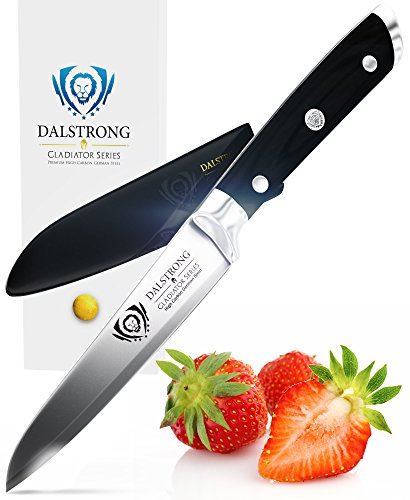 """DALSTRONG Paring Knife - Gladiator Series Paring Knife - German HC Steel - 3.5"""" 1 Outstanding craftsmanship, cutting-edge technology, stunning design elements, and premium materials. Peak performance has never looked so good at this price. Incredibly razor sharp paring knife, full-tang, imported high-carbon German steel with a hand polished edge at 14-16 degrees per side. Precisely tempered and stain resistant. The ultimate paring knife. Award winning design, with satisfying heft, premium materials and quality feel. Luxury imported black pakkawood handle is triple-riveted with a grip that ensures comfort and maneuverability. Laminated and polished for a sanitary build, perfect for busy kitchens"""