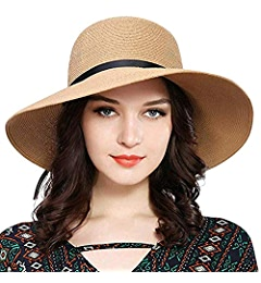 JOYEBUY Women Wide Brim Fedora Beach Sun Hat Straw Summer Packable Cap  UPF50+ (Bowknot-Beige) at Amazon Women s Clothing store  d7ef32e9262e