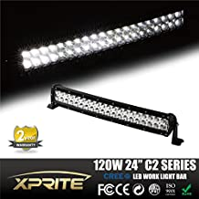 """Xprite C2 Series Off Road Curved 24"""" 120W 40 Cree LEDs Spot Flood Combo Screw Surface LED Work Light Bar"""
