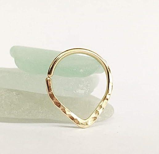 Luxury 18k Gold Septum Ring 15g 14g Hoop Yellow Amazon Com