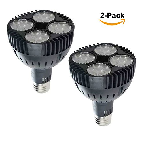 2-pack E-simpo® 35w Led Par30 Lamp, Warm White, 2700k, Replace 70w Cdmt Metal Halide Lamp, Par30 Led Spotlight, Black