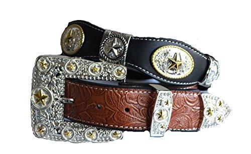 [Brown western texas star golden rodeo show buckle belt leather M L XL (XL, Black)] (Western Rhinestone Star Concho)