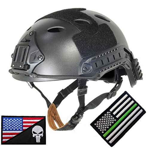 MUstBF Lightweight PJ Type Tactical Fast ABS Helmet for Airsoft Paintball (Black, Head circumference M/L 54-57cm (21-22.4in))