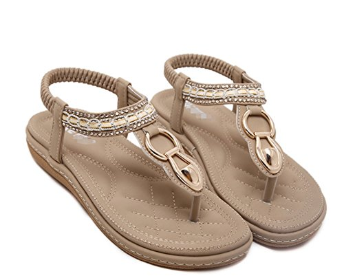 Mme Strass New Sandales élastique Toe Talon Abricot Clip LIANGXIE Summer Sandales ZHHZZ Beach Plat qpICd