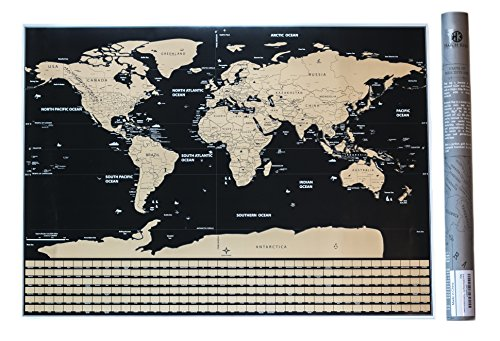 World map atlas cartography poster kamisco deluxe scratch off travel map poster w us states and country flags a unique travel tracker gumiabroncs Gallery