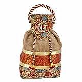 Maitri Creations Women Traditional Silk Brocade Purse Potli Bag Drawstring Jewelry Pouch Bag Cotton Gift Bag Value Set Wristlet Beaded Handbag Wedding Evening Party Designer Bridal Clutch Brown