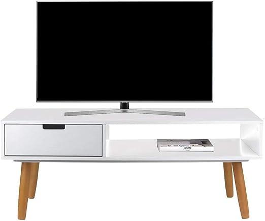 LIFA LIVING Mueble TV Blanco, Mesa televisión de diseño Vintage ...